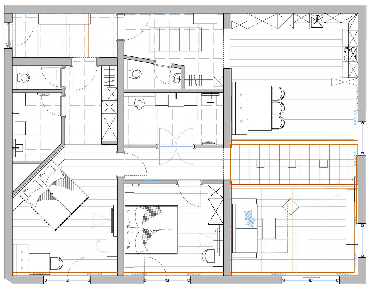 Grundrissplan Appartement TOP 1